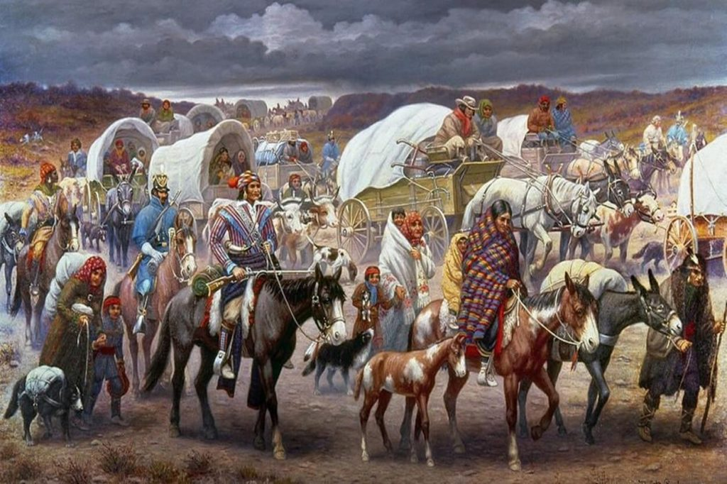 "American painters described Indians being forced to ""tear the road to tears"" by the US military."