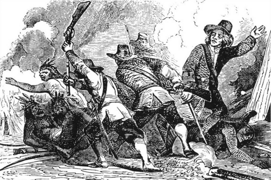 A 19th-century print depicts how North American colonists murdered the Pekot.  (Wikipedia public domain)